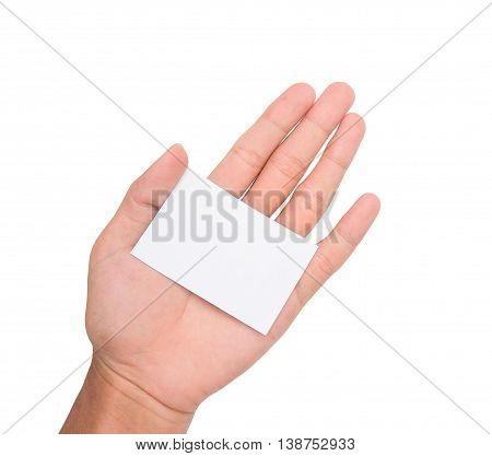 A hand holding a white paper card/note on palm with white backgroud