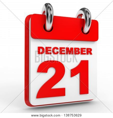 21 December Calendar On White Background.