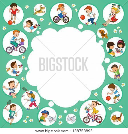 Vector illustration. Funny kids playing. Background Illustration with place for text.
