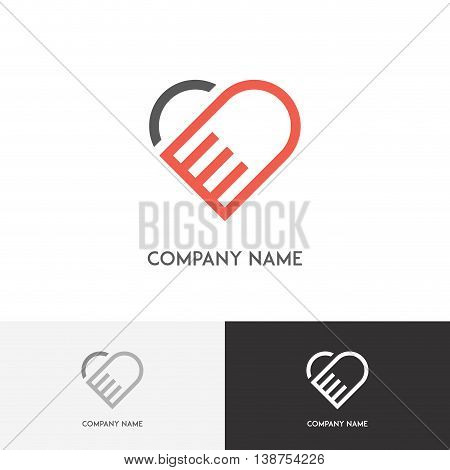 Love logo - two hands form a heart shape on the white background