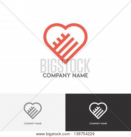 Love logo - two hands form a red heart on the white background