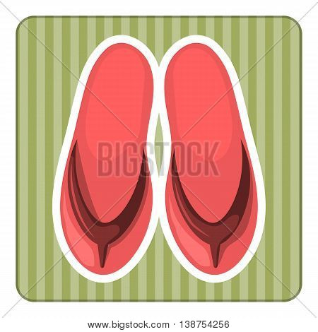 Beach slippers colorful icon. Vector illustration in cartoon style