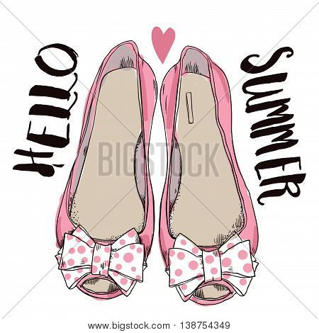 female pink shoes with bows. vector illustration