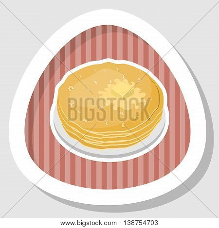 Vector illustration of pancakes with butter in cartoon style
