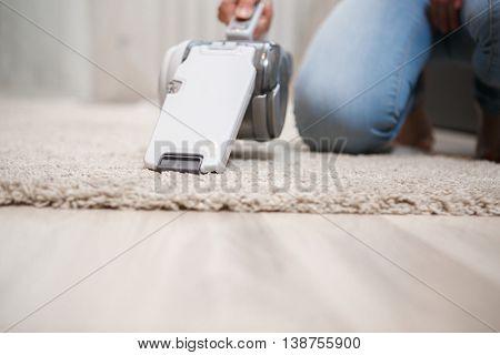 Closeup white cordless handheld vacuum cleaner