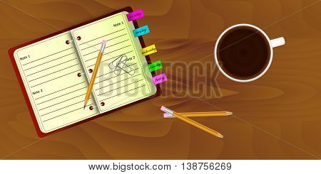 Top view of realistic work desk organization with open organizer and stickers with editing remarks, cup of coffee, pencils, paper clips on the table with wooden texture.
