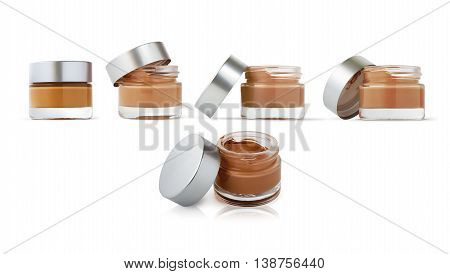 Cosmetic cream bottles isolated on white background