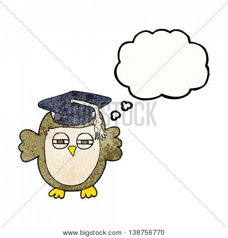 freehand drawn thought bubble textured cartoon clever owl