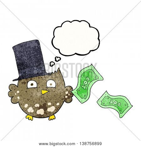 freehand drawn thought bubble textured cartoon wealthy little owl with top hat