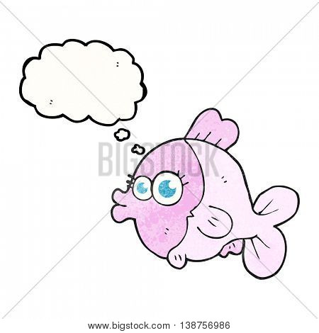 funny freehand drawn thought bubble textured cartoon fish with big pretty eyes