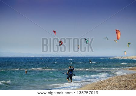 Kitesurfers on the Milos beach in Lefkada.