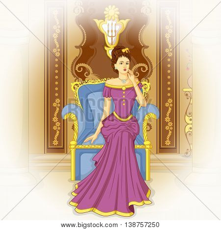 Vector design of vintage Victorian woman sitting in Throne