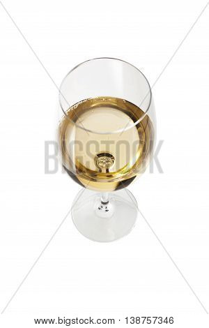 Wineglass with white wine isolated on white background. Concept and idea. With clipping path