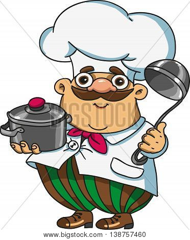 kartoon funny cook holds the dishes in the hands of