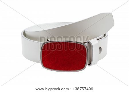 White leather belt with metal red buckle on white background