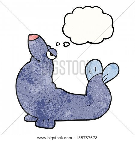 freehand drawn thought bubble textured cartoon proud seal
