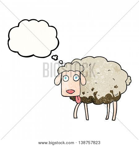 freehand drawn thought bubble textured cartoon muddy sheep