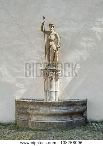 well with figure of a Grand Master of the Teutonic Order in Bad Mergentheim a town in Southern Germany