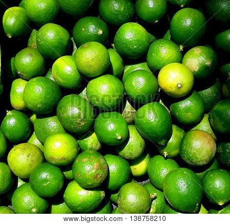 pile of green limes for sale at Songkhla open market, Thailand