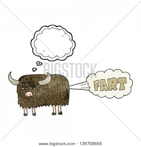 freehand drawn thought bubble textured cartoon hairy cow farting