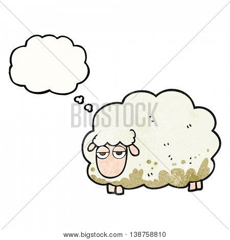 freehand drawn thought bubble textured cartoon muddy winter sheep