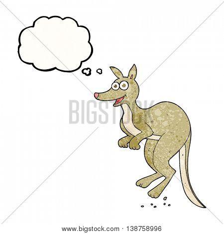 freehand drawn thought bubble textured cartoon kangaroo