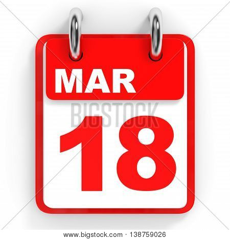 Calendar On White Background. 18 March.