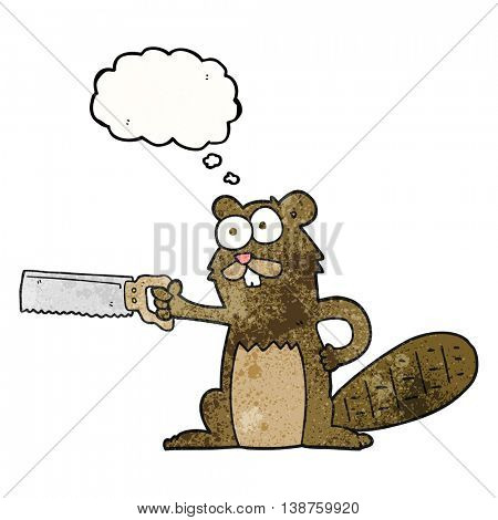 freehand drawn thought bubble textured cartoon beaver with saw