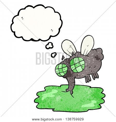freehand drawn thought bubble textured cartoon gross fly