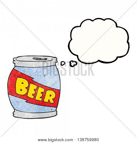 freehand drawn thought bubble textured cartoon beer can