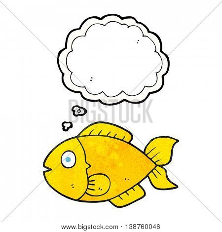 freehand drawn thought bubble textured cartoon fish