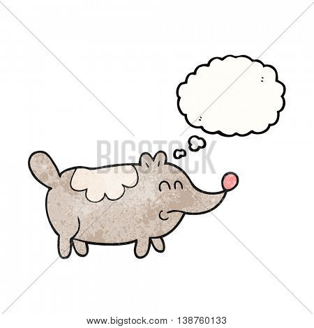 freehand drawn thought bubble textured cartoon small fat dog