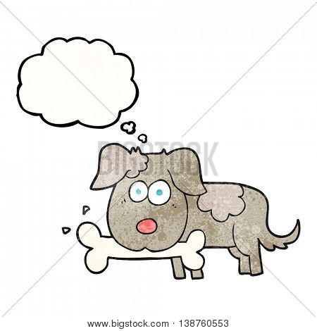 freehand drawn thought bubble textured cartoon dog with bone