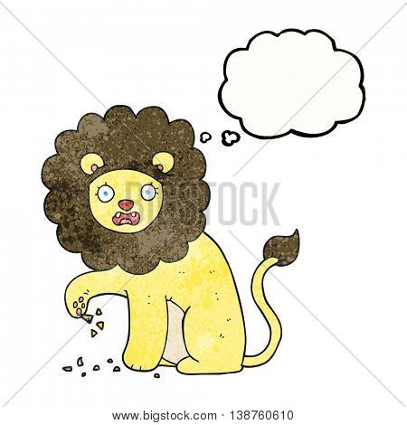 freehand drawn thought bubble textured cartoon lion with thorn in foot