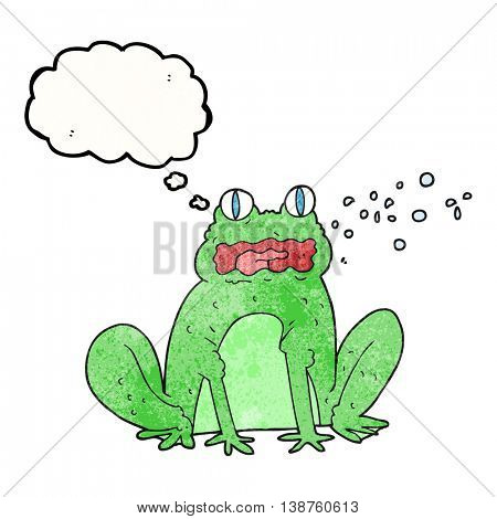 freehand drawn thought bubble textured cartoon burping frog
