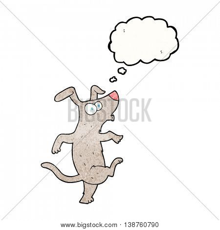 freehand drawn thought bubble textured cartoon dancing dog