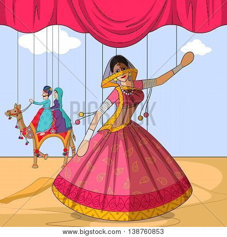 Vector design of colorful Rajasthani Puppet doing Ghoomar folk dance of Rajasthan, India