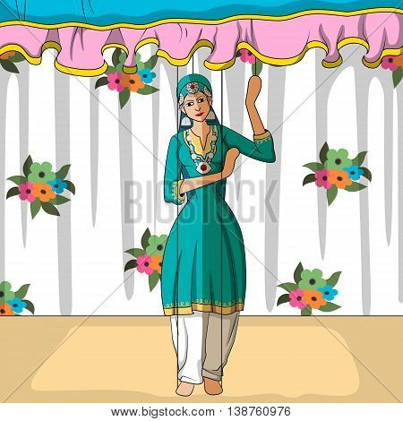 Vector design of colorful Rajasthani Puppet doing Kashmiri folk dance of India