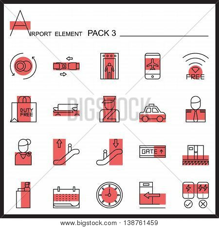 Airport Element Line Icon Set.Pack 3.Color pack.Graphic vector logo se