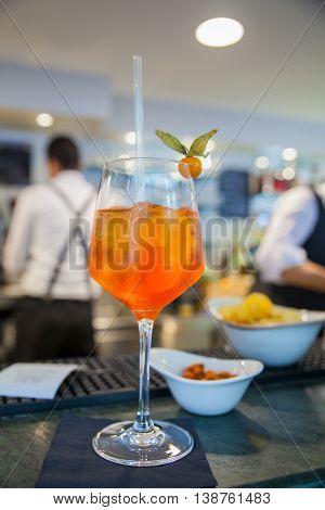 Spritz famous italian drink on counter bar