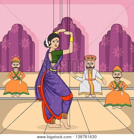 Vector design of colorful Rajasthani Puppet doing Lavani folk dance of Maharashtra, India