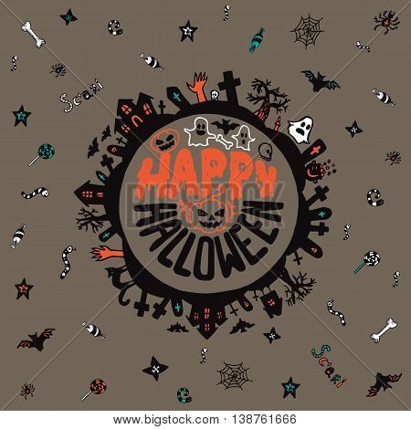 Halloween card with hand drawn lettering cemetery landscape and scary elements on grey background. Vector hand drawn illustration.