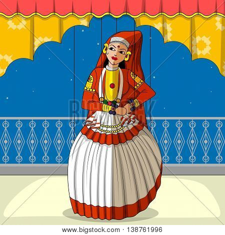 Vector design of colorful Rajasthani Puppet doing Kathakali classical dance of Kerala, India