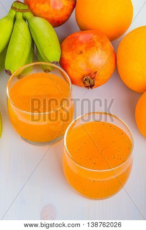 Orange With Basil Seeds Drink.