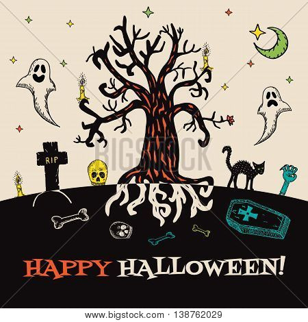 Halloween card with hand drawn cemetery landscape and scary elements on beige background. Vector hand drawn illustration.