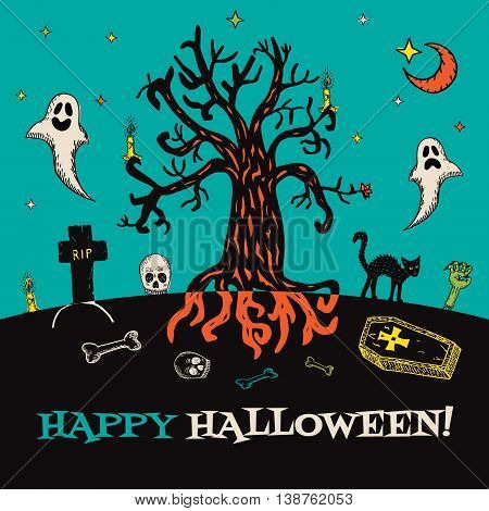 Halloween card with hand drawn cemetery landscape and scary elements on turquoise background. Vector hand drawn illustration.