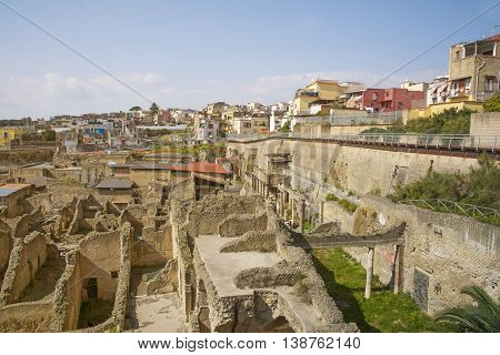 ERCOLANO,ITALY- MARCH 26 2016: Herculaneum archeological site hentrance and view of the