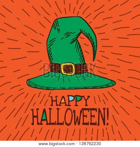 Halloween card with hand drawn witch hat on orange background. Vector hand drawn illustration.