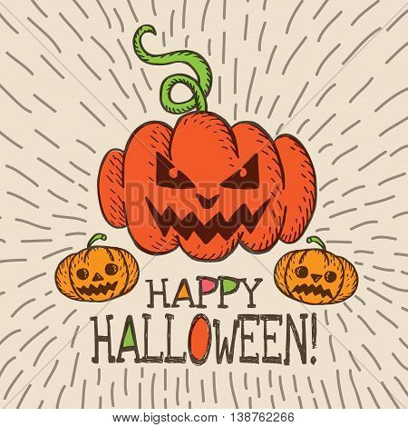 Halloween card with hand drawn pumpkin on beige background. Vector hand drawn illustration.