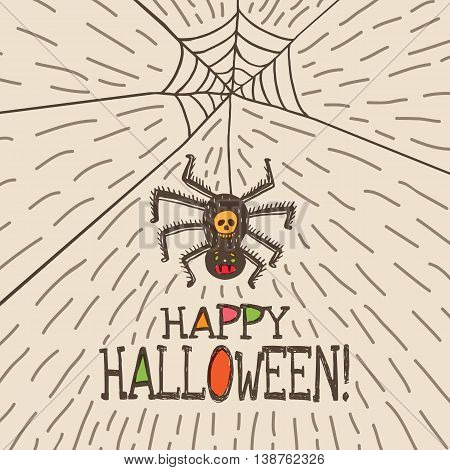 Halloween card with hand drawn hanging spider on beige background. Vector hand drawn illustration.